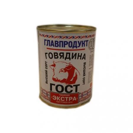 Говядина тушеная ж/б ЭКСТРА 338г ГЛАВПРОДУКТ - основное фото