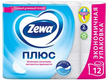 Туалетная бумага Zewa Плюс Белая (12 шт) - основное фото