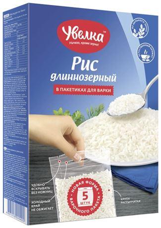 Рис длиннозерный в пакетиках для варки (5*80г), 400г. Увелка - основное фото