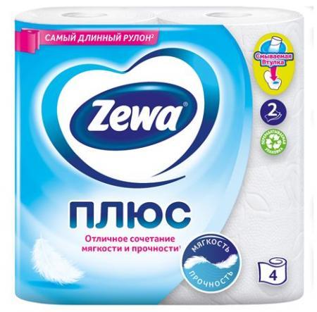 Туалетная бумага Zewa Плюс (4 шт) - основное фото