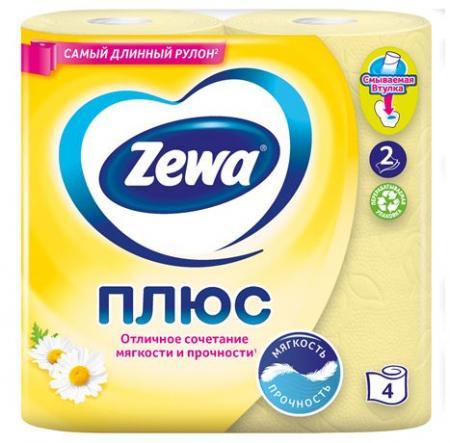 Туалетная бумага Zewa Плюс ромашка (4 шт) - основное фото