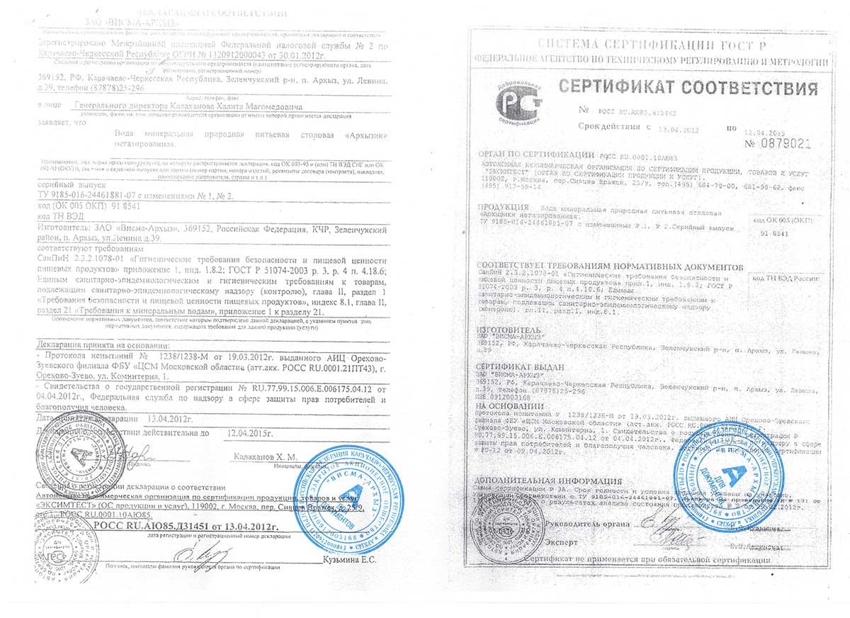 Сертификат соответствия питьевой воды Архызик