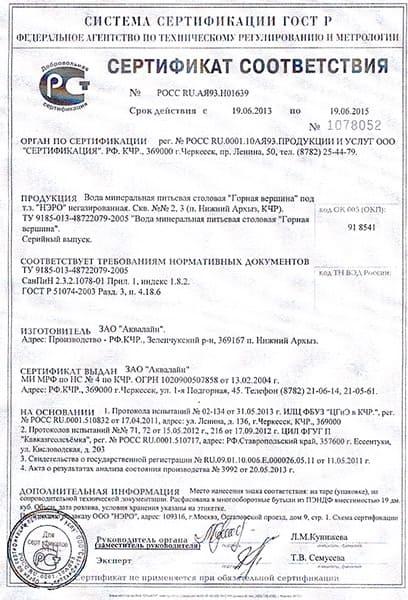 Сертификат соответствия питьевой воды Нэро